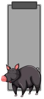 Schwarzes schwein-lesezeichen-konzept