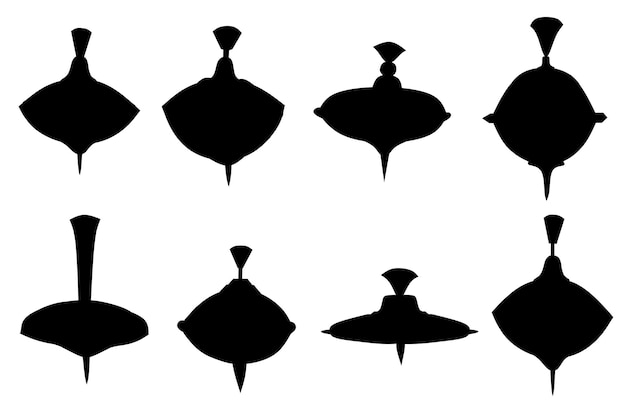 Schwarzes silhouetten-set von kinderspielzeug-whirligig-spinner mit verschiedenen form- und texturmustern