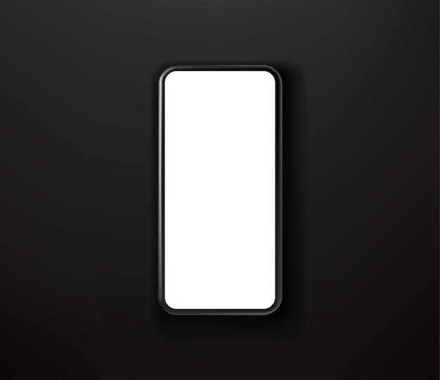 Schwarzes smartphone auf schwarzem hintergrund