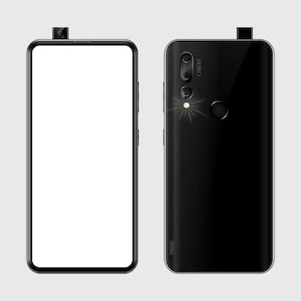 Schwarzes smartphone mit leerem bildschirm, telefonrückansicht mit kamera, blitz und fingerabdruckillustration