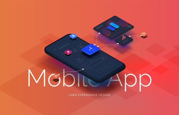Schwarzes smartphone mit mobilem app-interface-design