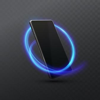 Schwarzes smartphone mit neonlichtspur lokalisiert auf dunklem transparentem hintergrund