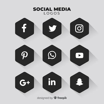 Schwarzes social media-logo-paket