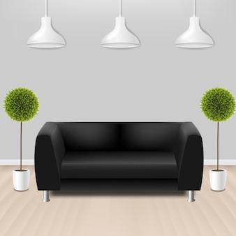 Schwarzes sofa mit lams mit grauem hintergrund mit verlaufsgitter.