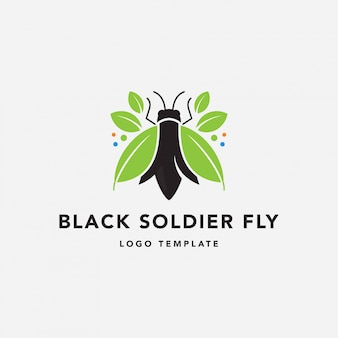 Schwarzes soldat-fliegen-bauernhof-logo