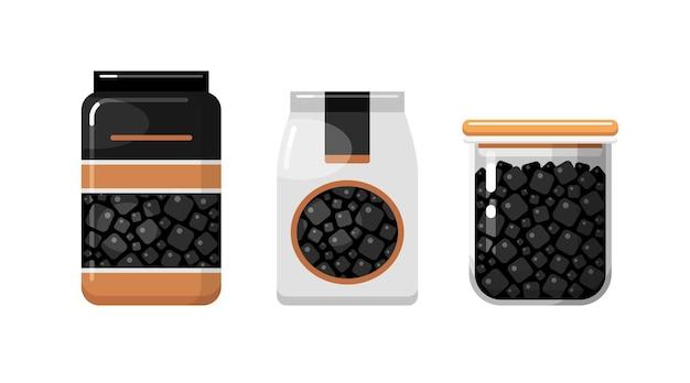 Schwarzes speisesalz in papier- und kunststoffverpackungen und vorratsbehälter für küchennahrung