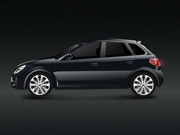 Schwarzes suv-auto in einem schwarzen hintergrundvektor