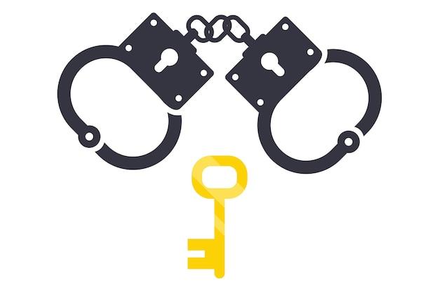 Schwarzes symbol auf weißem hintergrund handschellen und schlüssel davon. vektor-illustration
