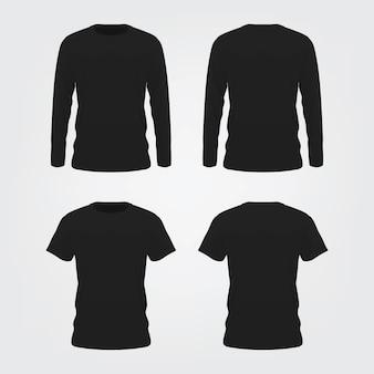 Schwarzes t-shirt mock up auf weißem hintergrund