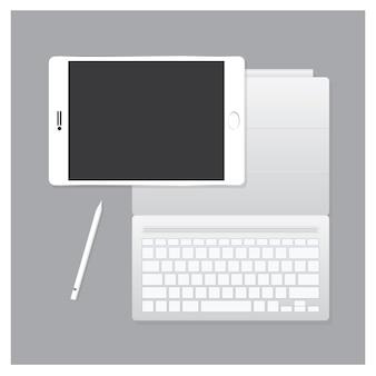 Schwarzes tablet pro mit tastaturkoffer
