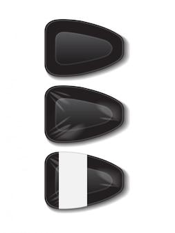 Schwarzes tablett aus lebensmittelplastik mit weißem etikett. lagerung von styroporlebensmitteln. dunkler schaummahlzeitbehälter, leere schachtel für lebensmittel