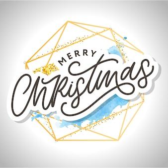 Schwarzes textwort der frohen weihnachtskalligraphie im goldenen rahmen