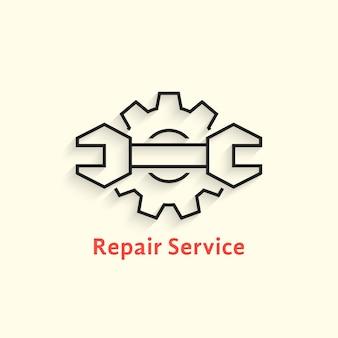 Schwarzes umriss-reparatur-service-logo. konzept des einstellbaren kits, seo, reparieren, wiederherstellen, zusammenbauen, zahnrad. flacher linearer stiltrend moderne markendesignschablonenvektorillustration auf weißem hintergrund