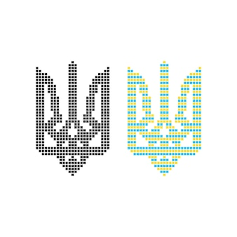 Schwarzes und farbiges ukrainisches emblem der pixelkunst. konzept der wappenkunst, symbolik, 8-bit-symbol, heraldik, verzierung. isoliert auf weißem hintergrund. flacher stil trend moderne logo-design-vektor-illustration