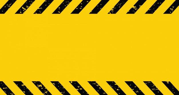 Schwarzes und gelbes vorsichtsband. unbelegter warnender hintergrund.