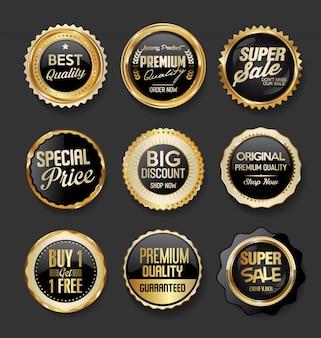 Schwarzes und gold wird superverkaufssammlung der illustration deutlich