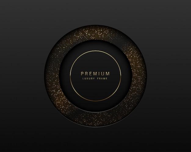 Schwarzes und goldabstrakter runder luxusrahmen. funkelnde pailletten auf schwarzem hintergrund mit goldenem ring. etikette