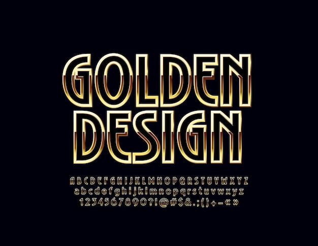 Schwarzes und goldenes art-deco-designalphabet. luxusbuchstaben, zahlen und symbole. stilvolle schriftart