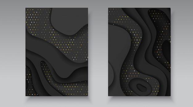 Schwarzes und goldenes halbton-effektmuster mit gewellten schichten. abstrakter realistischer papierschnitt formt textur. 3d luxus relief hintergrund flyer broschüre banner karte abdeckung design-vorlage vektor-illustration
