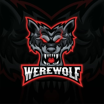 Schwarzes und rotes wütendes wolfskopfmaskottchen-esport-logo. frontansicht wolfskopf-logo-design