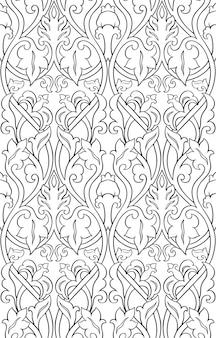 Schwarzes und weißes blumenmuster. filigrane nahtlose verzierung. vorlage für tapeten, textilien.