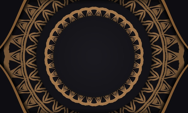 Schwarzes vektorbanner mit ornamenten und platz für ihren text und ihr logo. druckbare design-hintergrundvorlage mit abstrakten mustern.
