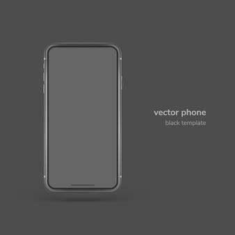 Schwarzes vektortelefon lokalisiert auf schwarzem hintergrund
