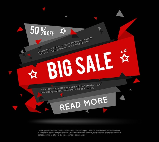 Schwarzes verkaufsbanner. big sale label oder super sale banner für broschüren mit verkäufen und rabatten