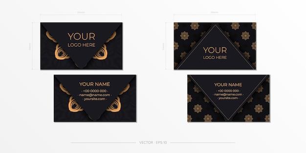 Schwarzes visitenkartendesign mit vintage-mustern. stilvolle visitenkarten mit griechischer verzierung.
