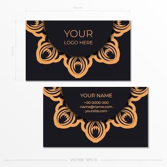 Schwarzes visitenkartendesign mit vintage-verzierung. stilvolle visitenkarten mit griechischen mustern.