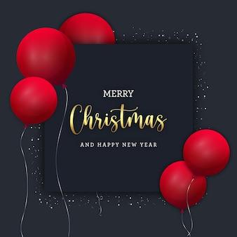 Schwarzes weihnachtsbanner mit roten ballons