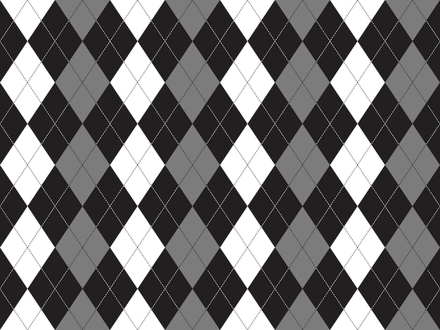 Schwarzes weißes graues argyle textilnahtloses muster
