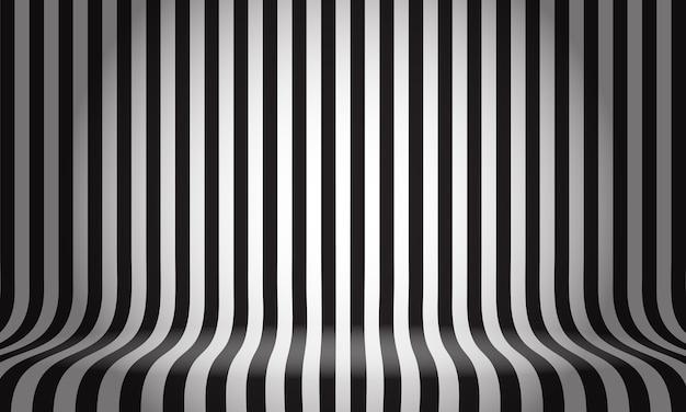 Schwarzes weißes linienmusterstudio zeigt leeren raumhintergrund an