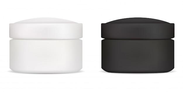 Schwarzes weißes sahneglas. kosmetikbehälter