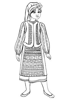Schwarzes weißes zeichnungsmädchen im nationalen kostüm