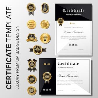 Schwarzes zertifikat mit abzeichen