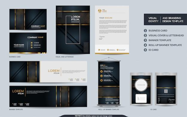 Schwarzgold-luxusbriefpapierset und visuelle markenidentität mit abstrakten überlappungsschichten