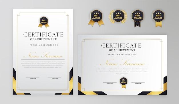 Schwarzgold-zertifikat mit abzeichen und randschablone Premium Vektoren