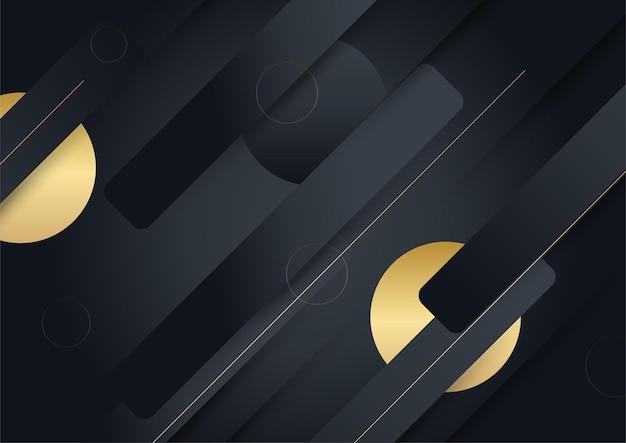 Schwarzgoldener hintergrund. vektor-luxus-tech-hintergrund. stapel aus schwarzer papiermaterialschicht mit goldstreifen. premium-tapete in pfeilform