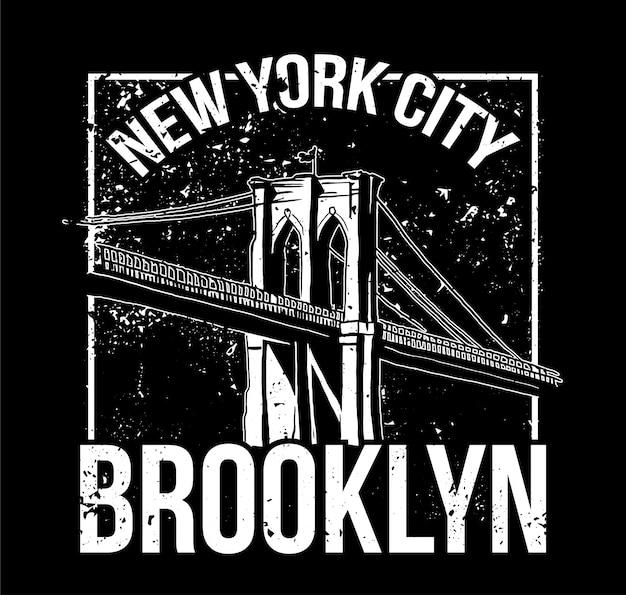 Schwarzweiss-druck im straßenstil mit brooklyn-brücke von new york city. für modedesign drucken auf kleidung t-shirt bomber sweatshirt auch für aufkleber poster patch. unterirdischer stil.