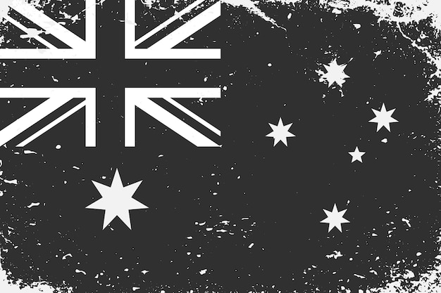 Schwarzweiss-flagge australien im grunge-stil