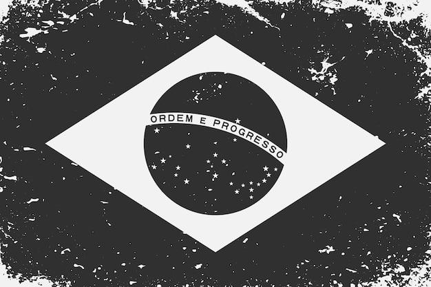 Schwarzweiss-flagge brasilien im grunge-stil