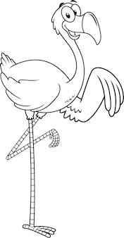 Schwarzweiss-flamingo-vogel-karikatur-charakter, der winkt.