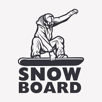 Schwarzweiss-gestaltungselementillustration des snowboarders