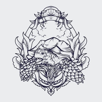 Schwarzweiss hand gezeichnete illustration sulcata schildkröte gravur ornament