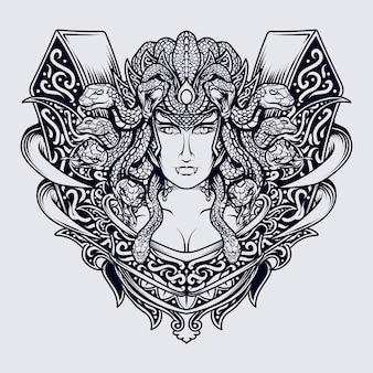 Schwarzweiss-hand gezeichnete illustrationsmedusengravurverzierung