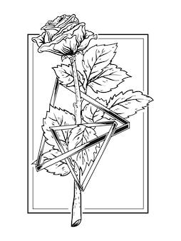 Schwarzweiss-hand gezeichnete illustrationsrose mit dreiecksprämie