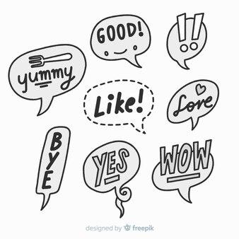 Schwarzweiss-hand gezeichnete spracheblasen