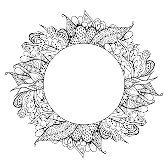 Schwarzweiss-hand gezeichneter gekritzelrahmen