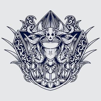 Schwarzweiss-hand zeichnete die teufelsgravurverzierung